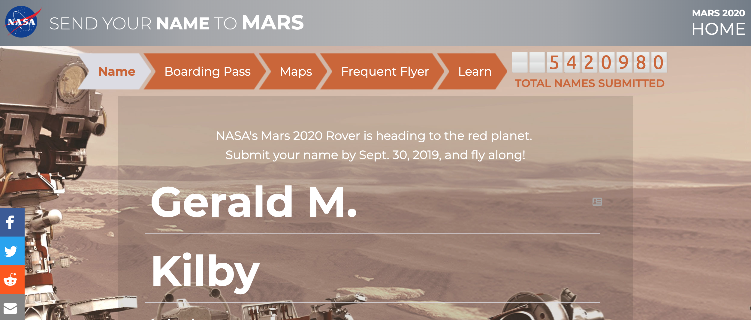 My name is going to Mars!